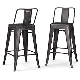 Rayne Industrial Metal 24 inch Counter Height Stool (Set of 2) in Gunmetal Gray, , large
