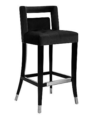 Hart Black Velvet Bar Stool, Black, large