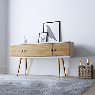 Manhattan Comfort Theodore Sideboard in Off White and Cinnamon, White/Brown, rollover
