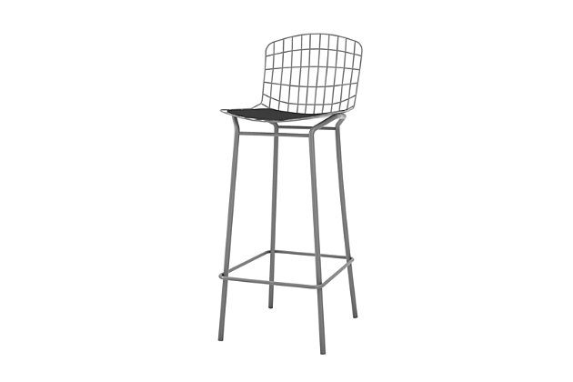 Manhattan Comfort Madeline Barstool in Charcoal Gray and Black, Gray/Black, large