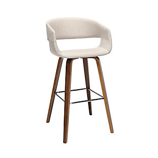"""OFM 161 Collection Mid Century Modern 26"""" Low Back Bentwood Frame Stool, Fabric Upholstery, in Beige (Set of 2), Beige, large"""