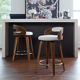 """OFM 161 Collection Mid Century Modern 24"""" Low Back Bentwood Frame Swivel Seat Stool with Fabric Back and Seat Cushion, in Walnut/Beige, Beige, rollover"""