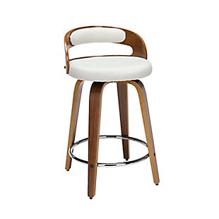 """OFM 161 Collection Mid Century Modern 24"""" Low Back Bentwood Frame Swivel Seat Stool with Fabric Back and Seat Cushion, in Walnut/Beige, Beige, large"""