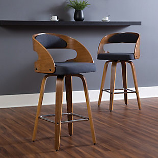 """OFM 161 Collection Mid Century Modern 26"""" Bentwood Frame Swivel Seat Stool with Fabric Back and Seat Cushion, in Walnut/Navy, Navy, rollover"""