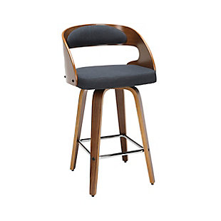 """OFM 161 Collection Mid Century Modern 26"""" Bentwood Frame Swivel Seat Stool with Fabric Back and Seat Cushion, in Walnut/Navy, Navy, large"""