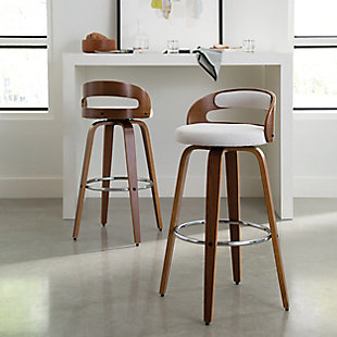 """OFM 161 Collection Mid Century Modern 30"""" Low Back Bentwood Frame Swivel Seat Stool with Fabric Back and Seat Cushion, in Walnut/Beige, Beige, rollover"""