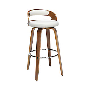 """OFM 161 Collection Mid Century Modern 30"""" Low Back Bentwood Frame Swivel Seat Stool with Fabric Back and Seat Cushion, in Walnut/Beige, Beige, large"""