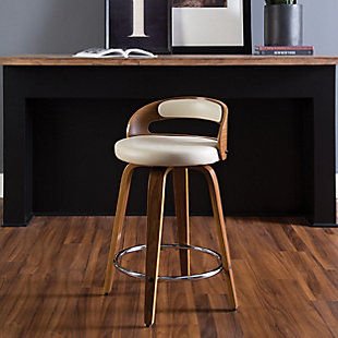 """OFM 161 Collection Mid Century Modern 24"""" Low Back Bentwood Frame Swivel Seat Stool with Vinyl Back and Seat Cushion, in Walnut/Ivory, Ivory, rollover"""