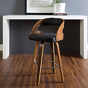 """OFM 161 Collection Mid Century Modern 26"""" Bentwood Frame Swivel Seat Stool with Vinyl Back and Seat Cushion, in Walnut/Black, Black, rollover"""