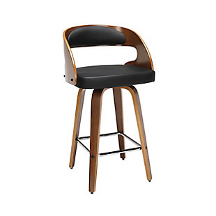 """OFM 161 Collection Mid Century Modern 26"""" Bentwood Frame Swivel Seat Stool with Vinyl Back and Seat Cushion, in Walnut/Black, Black, large"""