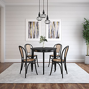 """Euro Style Atle 36"""" Round Dining Table in Matte Black, Black, rollover"""