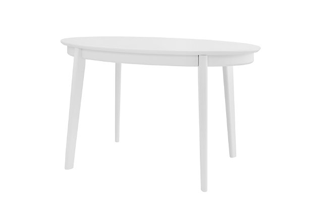 """Euro Style Atle 54""""x34"""" Oval Dining Table in Matte White, White, large"""