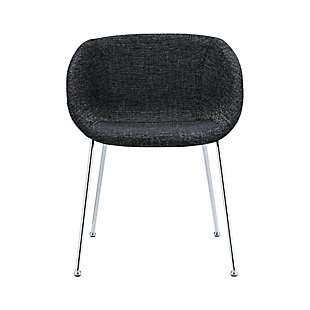 Euro Style Zach Armchair in Black Fabric and Chrome Legs - Set of 2, , large