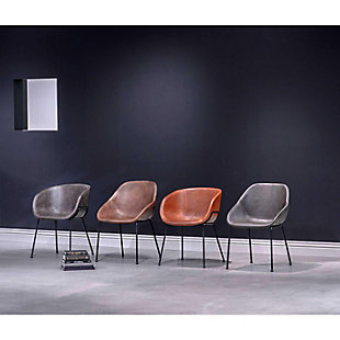 Euro Style Zach Armchair with Dark Brown Leatherette and Matte Black Powder Coated Steel Frame and Legs - Set of 2, Dark Brown, rollover