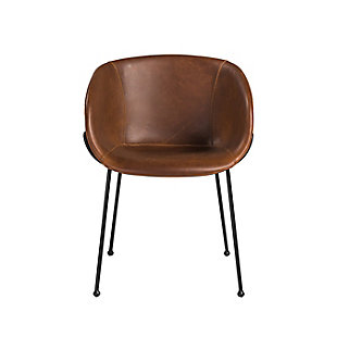 Euro Style Zach Armchair with Dark Brown Leatherette and Matte Black Powder Coated Steel Frame and Legs - Set of 2, Dark Brown, large