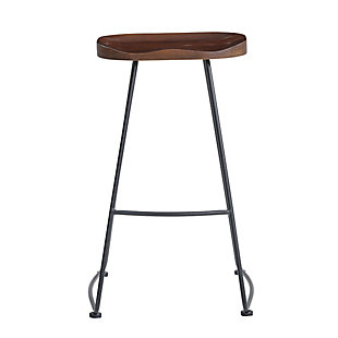 Euro Style Antero Bar Stool in Walnut with Sanded Black Base - Set of 2, Walnut, rollover