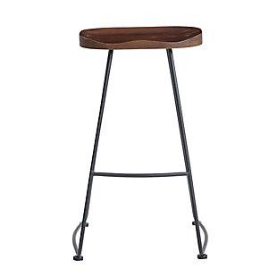 Euro Style Antero Bar Stool in Walnut with Sanded Black Base - Set of 2, Walnut, large