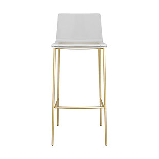 Euro Style Cilla Bar Stool in Clear with Brushed Nickel Legs - Set of 2, Clear, large