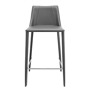 Euro Style Kalle Bar Stool in Gray - Set of 1, Gray, large