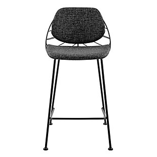 Euro Style Linnea-B Bar Stool In Black Fabric with Matte Black Frame and Legs - Set of 2, Black, large