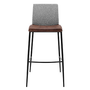 Euro Style Rasmus-C Counter Stool with Light Brown Leatherette and Gray Fabric with Matte Black Legs - Set of 2, Gray, large