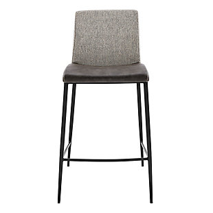 Euro Style Rasmus-B Bar Stool with Dark Gray Leatherette and Light Gray Fabric with Matte Black Legs - Set of 2, Dark Gray, rollover