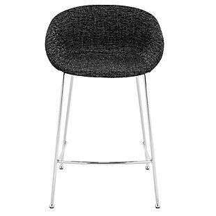 Euro Style Zach-B Bar Stool with Black Fabric and Chromed Steel Frame and Legs - Set of 2, Black, rollover