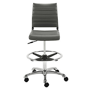 Euro Style Axel Adjustable Height Drafting Stool in Gray with Aluminum Base, , rollover