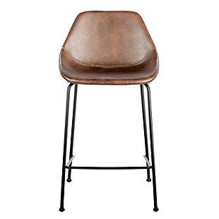 Euro Style Corinna Bar Stool in Vintage Brown - Set of 2, Brown, large