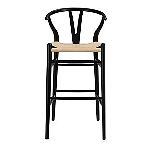 Euro Style Evelina-B Bar Stool in Black Frame and Natural Seat, Black/Natural, large
