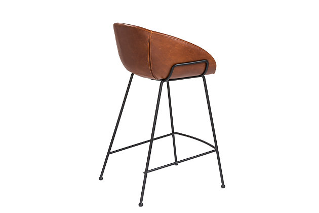 Euro Style Zach-B Bar Stool in Dark Brown and Black Frame and Legs - Set of 2, Dark Brown, large