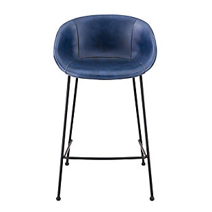 Euro Style Zach-B Bar Stool with Dark Blue Leatherette and Matte Black Powder Coated Steel Frame and Legs - Set of 2, Dark Blue, rollover