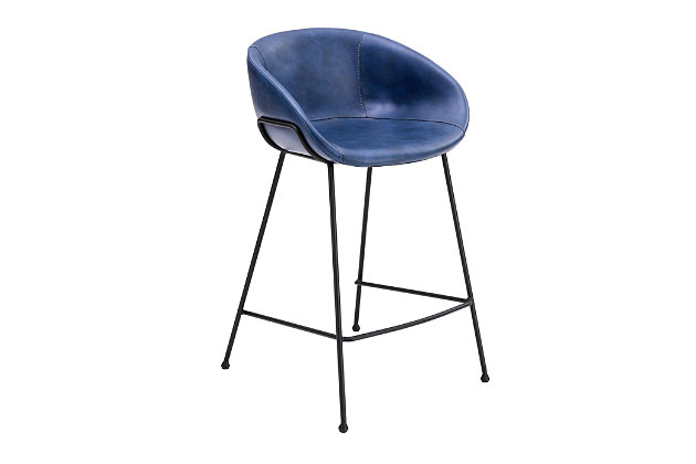 Euro Style Zach-B Bar Stool with Dark Blue Leatherette and Matte Black Powder Coated Steel Frame and Legs - Set of 2, Dark Blue, large