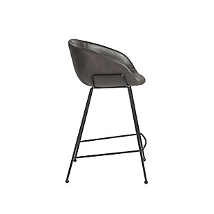 Euro Style Zach-B Bar Stool with Dark Gray Leatherette and Matte Black Powder Coated Steel Frame and Legs - Set of 2, Dark Gray, large