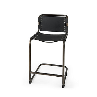 Berbick  Black Leather with Iron Frame Counter Stool, Black, large