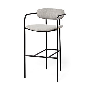 Parker  Frost Gray Fabric Seat Black Metal Counter Stool, Frost Gray, large