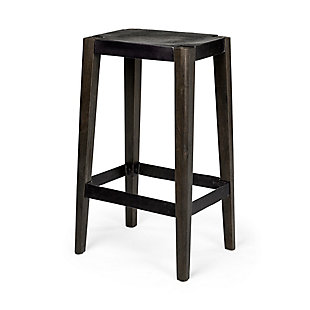 """Nell  30"""" Seat Height Black Metal Seat & Foot Rest With Black Wood Legs Stool, Brown, rollover"""