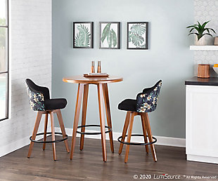 Ahoy Mid-Century Counter Stool in Walnut and Black Fabric with Floral Design, Walnut/Black, rollover