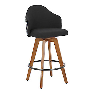 Ahoy Mid-Century Counter Stool in Walnut and Black Fabric with Floral Design, Walnut/Black, large