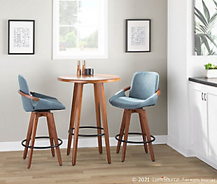 Cosmo Mid-Century Counter Stool in Walnut and Blue Noise Fabric, Walnut/Blue/Black, rollover