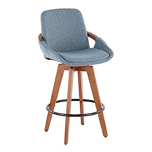 Cosmo Mid-Century Counter Stool in Walnut and Blue Noise Fabric, Walnut/Blue/Black, large