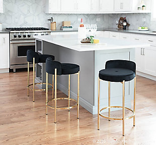 Chloe Contemporary Counter Stool in Gold Metal and Black Velvet  - Set of 2, Gold/Black, rollover