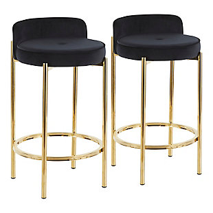 Chloe Contemporary Counter Stool in Gold Metal and Black Velvet  - Set of 2, Gold/Black, large