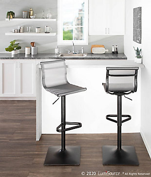 Mirage Contemporary Barstool in Black Metal and Silver Mesh Fabric, Black/Silver, rollover