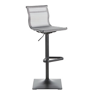 Mirage Contemporary Barstool in Black Metal and Silver Mesh Fabric, Black/Silver, large