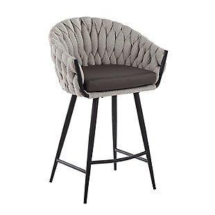 Braided Matisse Contemporary Counter Stool in Black Metal with Grey Faux Leather and Cream Fabric, Black/Cream/Gray, large