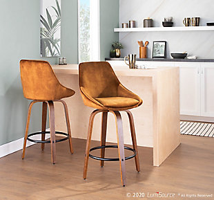 Diana Contemporary Counter Stool in Walnut Wood and Golden Yellow Velvet with Black Round Footrest  - Set of 2, Walnut/Yellow/Black, rollover