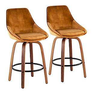 Diana Contemporary Counter Stool in Walnut Wood and Golden Yellow Velvet with Black Round Footrest  - Set of 2, Walnut/Yellow/Black, large