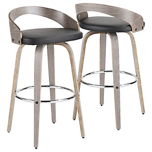 Grotto Mid-Century Modern Barstool with Light Grey Wood and Black Faux Leather  - Set of 2, , large