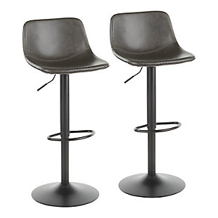 Duke Industrial Adjustable Barstool in Black Metal and Grey Faux Leather  - Set of 2, Black/Gray, large